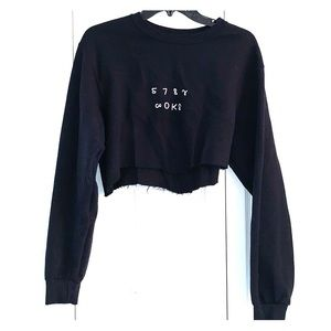 Cropped black stay woke sweatshirt